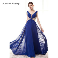 Luxury Sexy Royal Blue A Line Sparkly Pleated Beaded Evening Dresses 2017 With Rhinestone Women Party