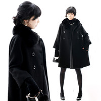 2019 Winter Women Wool Cloak Large Size Ladies Thick Cloak Real Fox Fur Collar Cashmere Coat Woolen Coat S 5Xl A718