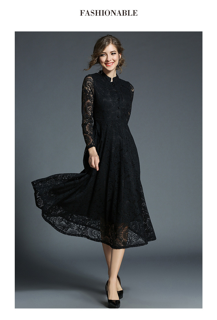 Stand Neck Long Sleeve Office Work Elegant Lace Dress 5