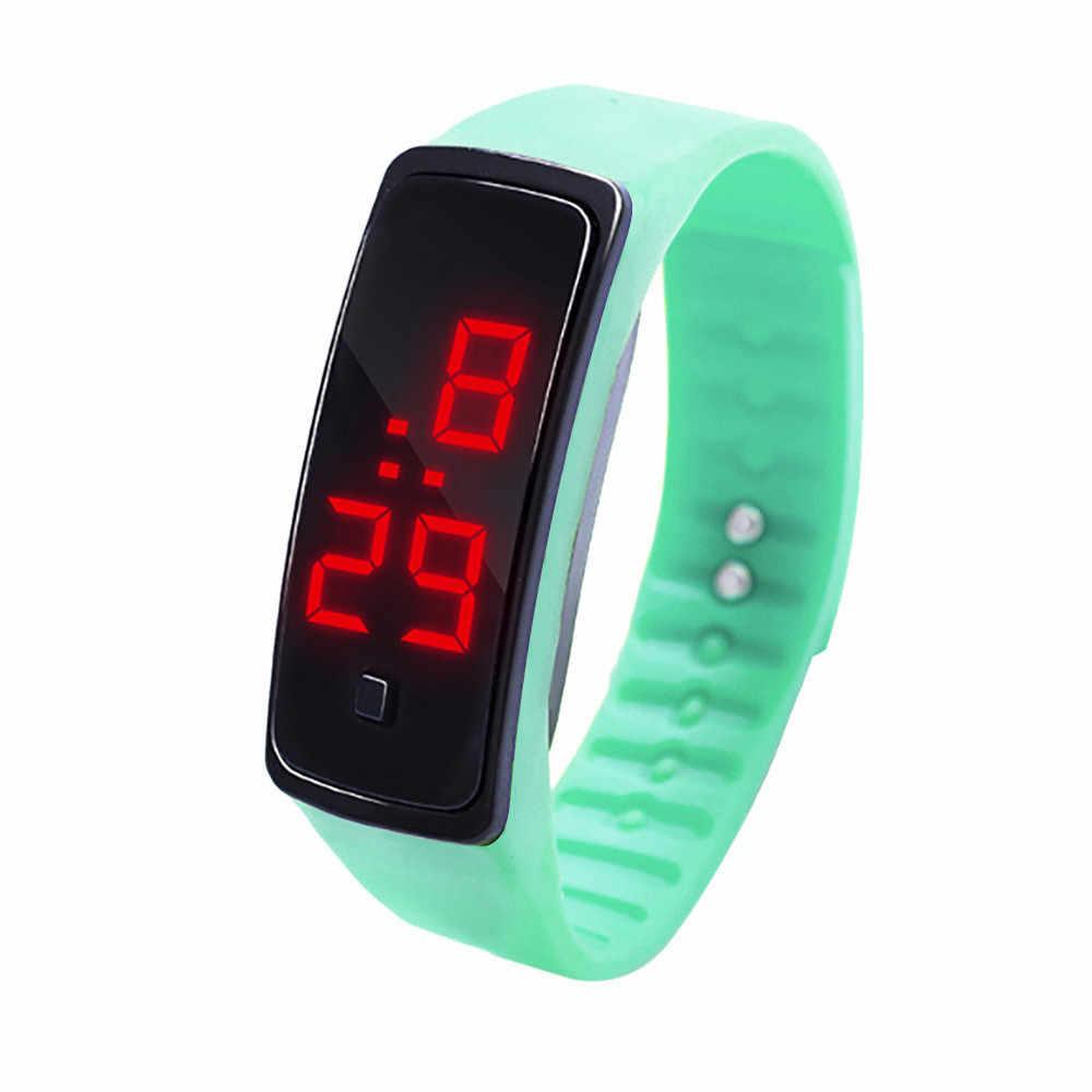 LED شاشة ديجيتال سوار ساعة الأطفال الطلاب هلام السيليكا الرياضة ساعة الإلكترونية ساعة رقمية هدايا الرجال المعصم lumino