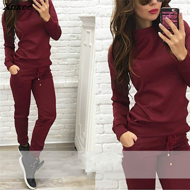 PINSV Womens 2 Piece Outfits Long Sleeve Sweatsuits Outfits Jogging Suits Sweat Loungewear Sets Black XXL