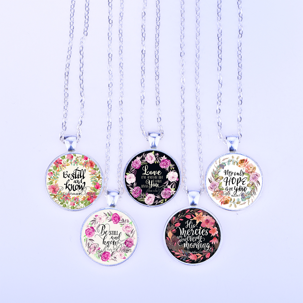 Christian jewelry 5 pieces bible verses glass pendant necklace aloadofball Gallery