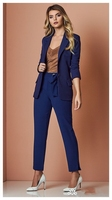 2018 New Custom Navy Blue Formal Suits for Women Office Business Suitspants Work Wear Sets Uniform Styles Elegant Pant Suits W37