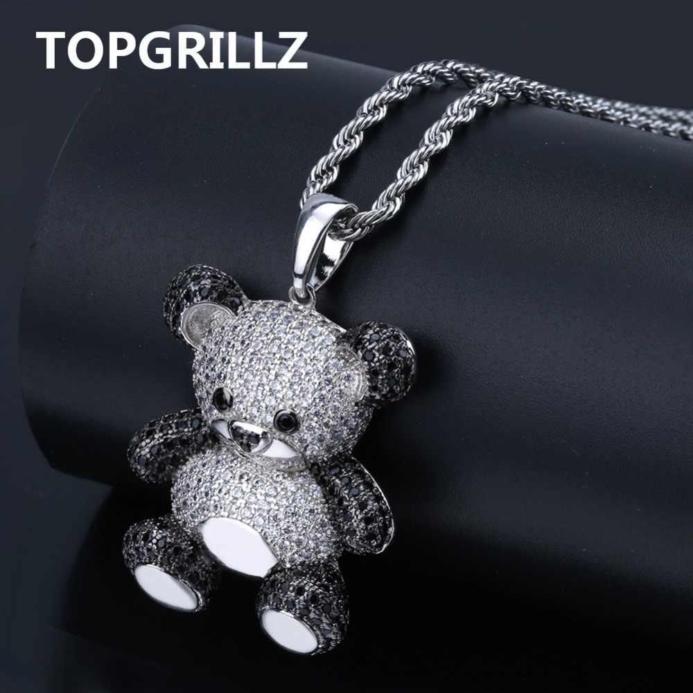 TOPGRILLZ Hip Hop miedzi wzrosła złoty kolor srebrny Cubic cyrkon Panda wisiorek naszyjnik z amuletem dla kobiet mężczyzn biżuteria naszyjniki prezenty