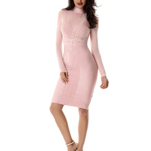 Mesh Long Sleeves Women Bandage Dresses High Neck Sexy Bodycon Celebrity Party Dresses