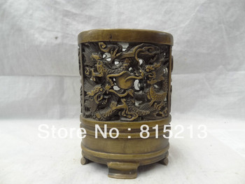 wang 000217 China Bronze Dragon Statue Tibet Tibetan Buddhism Pencil Vase Brush Barrel Pot