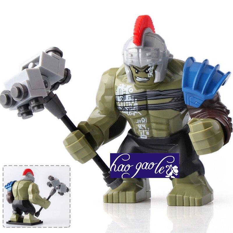 30pc Single Sale XH654 Super Heroes Avengers Thor Ragnarok 76088 Hulk 7cm big size Blocks Model