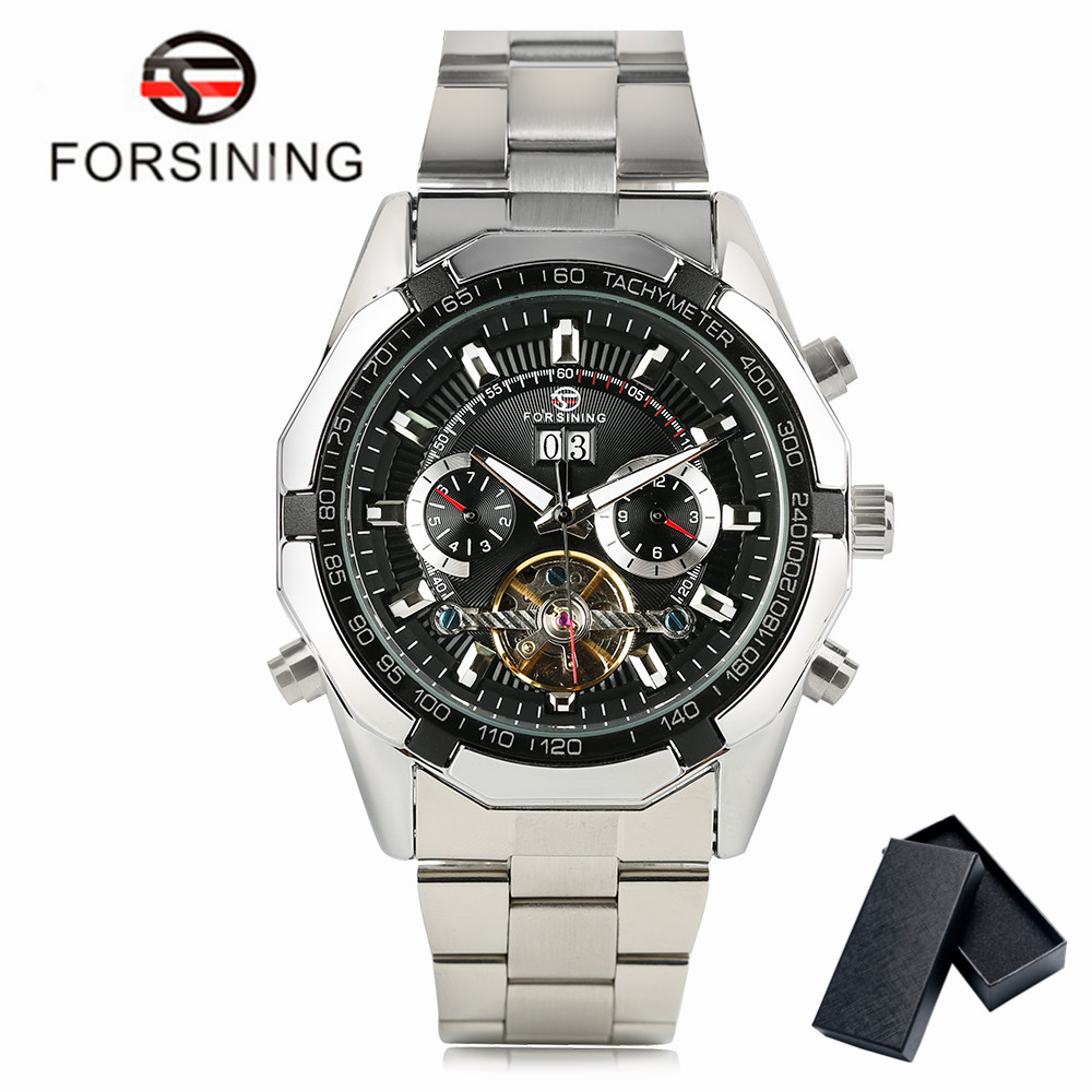 FORSINING Mechanical Watches Men Automatic Tourbillon Mult-Color Day-Week-Month Display Wristwatch Stainless Steel with Gift Box forsining a165 men tourbillon automatic mechanical watch leather strap date week month year display