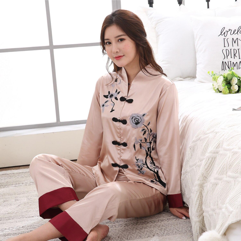 New Camel Chinese Women Satin Pajamas Set Vintage Embroidery Pyjamas Suit Shirt&Pant 2PCS Sleepwear Flower Plus Size M-3XL