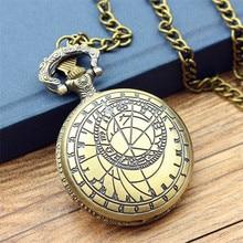 New Retro Vintage Bronze Steampunk Quartz Necklace Pendant Chain Clock Pocket Watch Men Women high quality antique Flip watch
