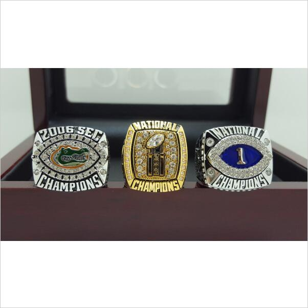 ONE SET 3 PCS 2006 FLORIDA GATORS SEC BCS AND NCAA FOOTBALL National Championship Ring 7-15 Size Engraved Inside ...