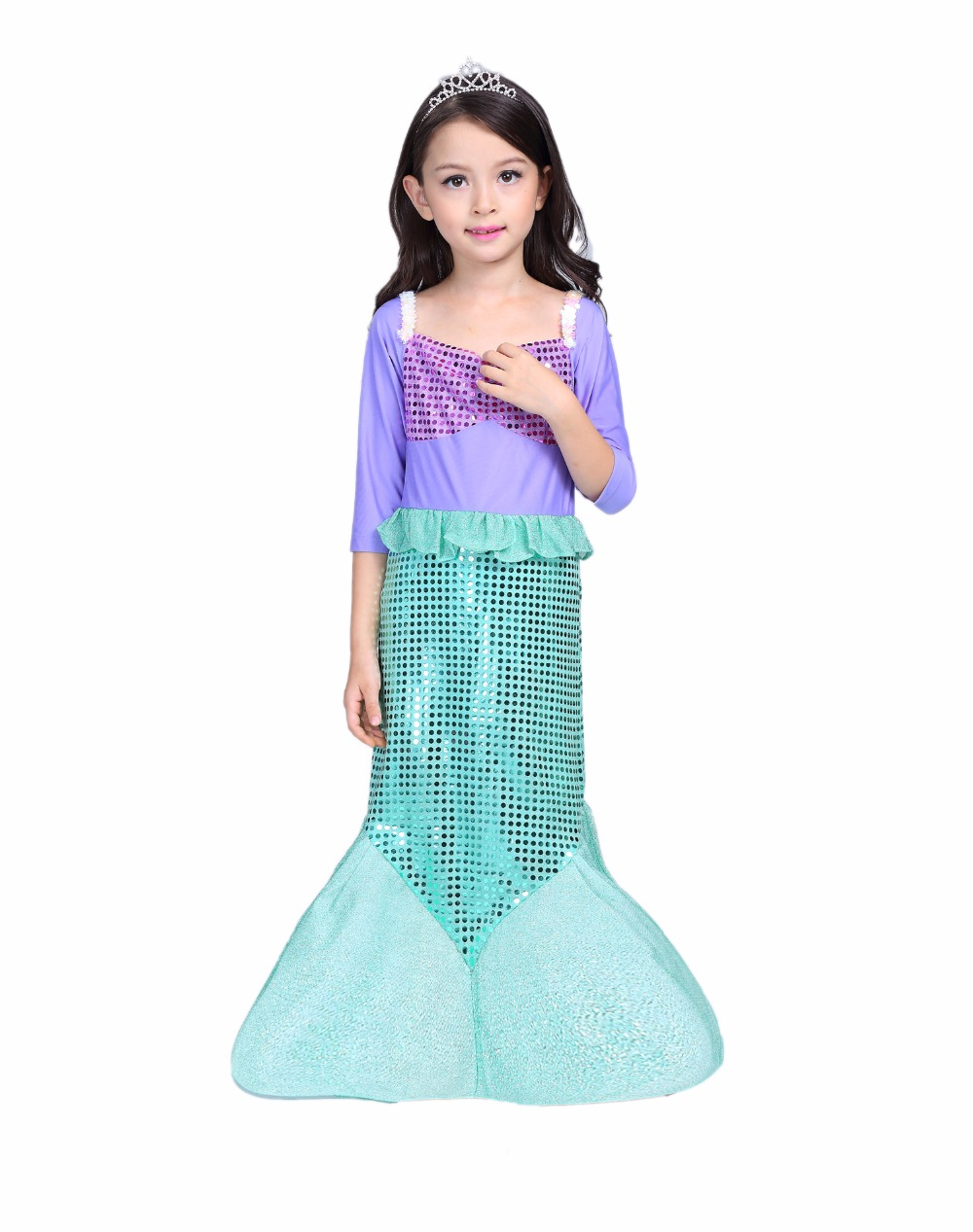 Halloween Dress Girls Little Mermaid Princess Costume Long Sleeve Girl Prom  Dress Girls Outfits Elegant Party Dress For 3 10y  In Dresses From Mother U0026  Kids ...