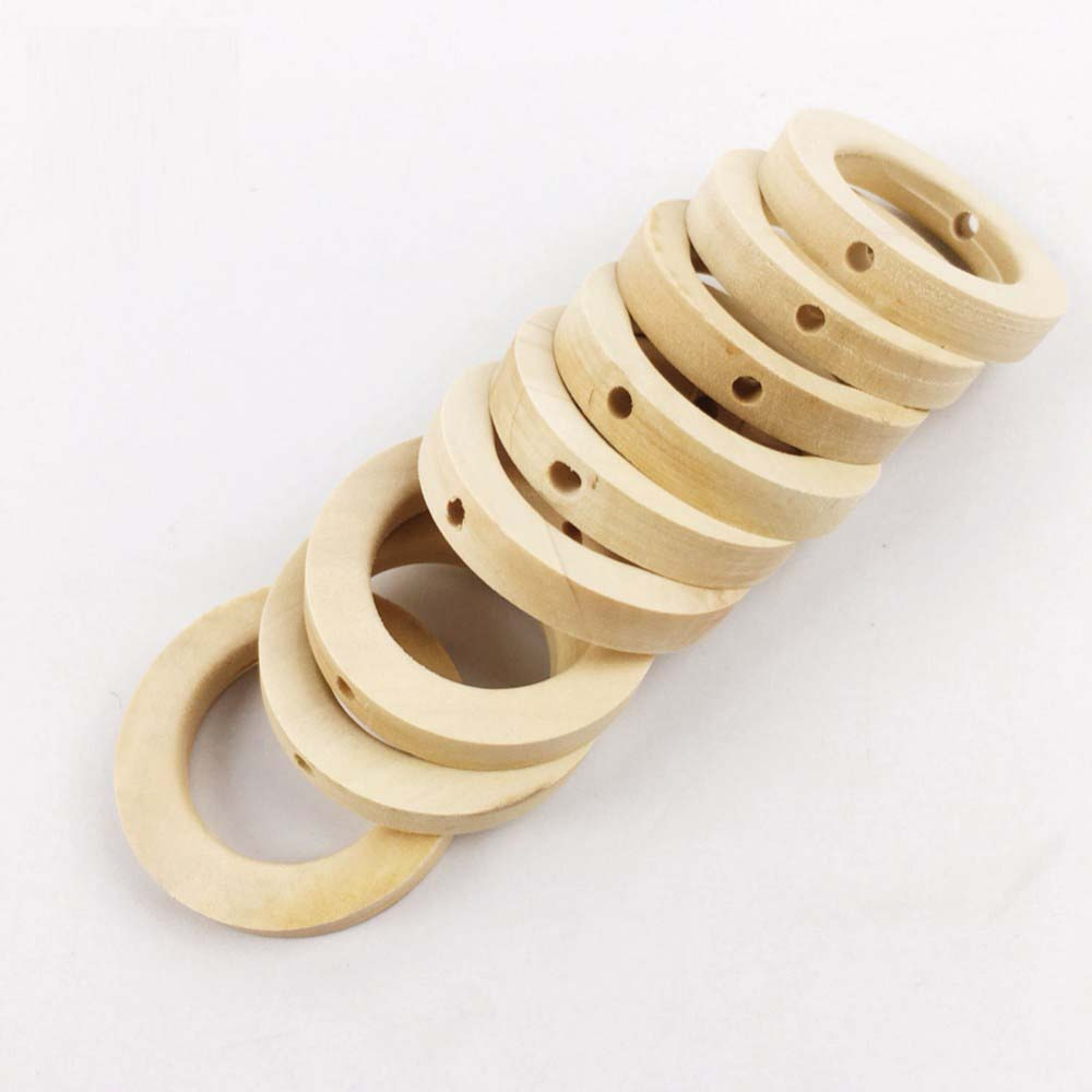 25*8MM Baby Nursing Accessories 20PCS Unpainted Handmade Ring With Hole Jewelry For DIY Wooden Child Toy Wood Chewable Teething