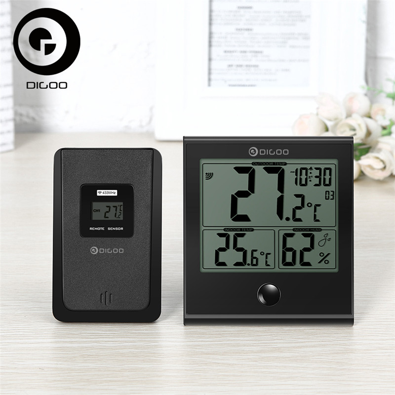 цены Digoo DG-TH1180 Home Comfort Indoor Outdoor Glass Panel Thermometer Hygrometer Alarm Temperature Humidity Monitor