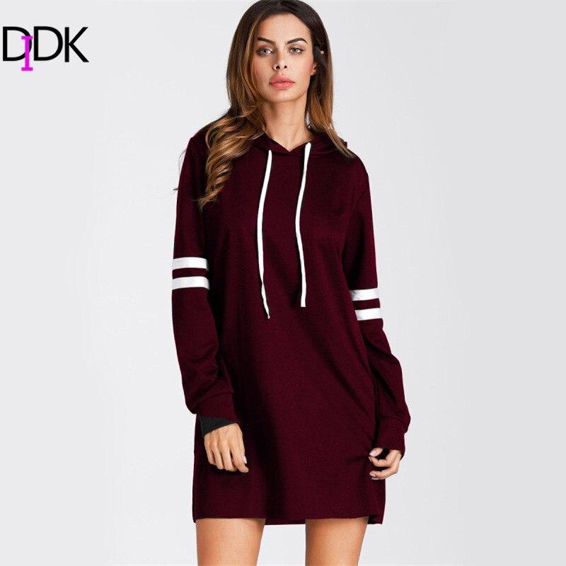SweatyRocks Burgundy Varsity Striped Short Hoodie Dress Women Long Sleeve Casual Sweatshirt Dress Shift Dress For Ladies