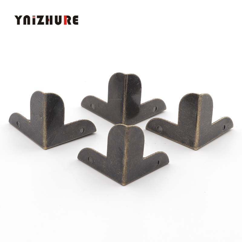 Luggage Case Box Corner Brackets Decorative Corner For Furniture Decoration Triangular Rattan Carved Bronze Tone 22*22*23mm,8Pcs