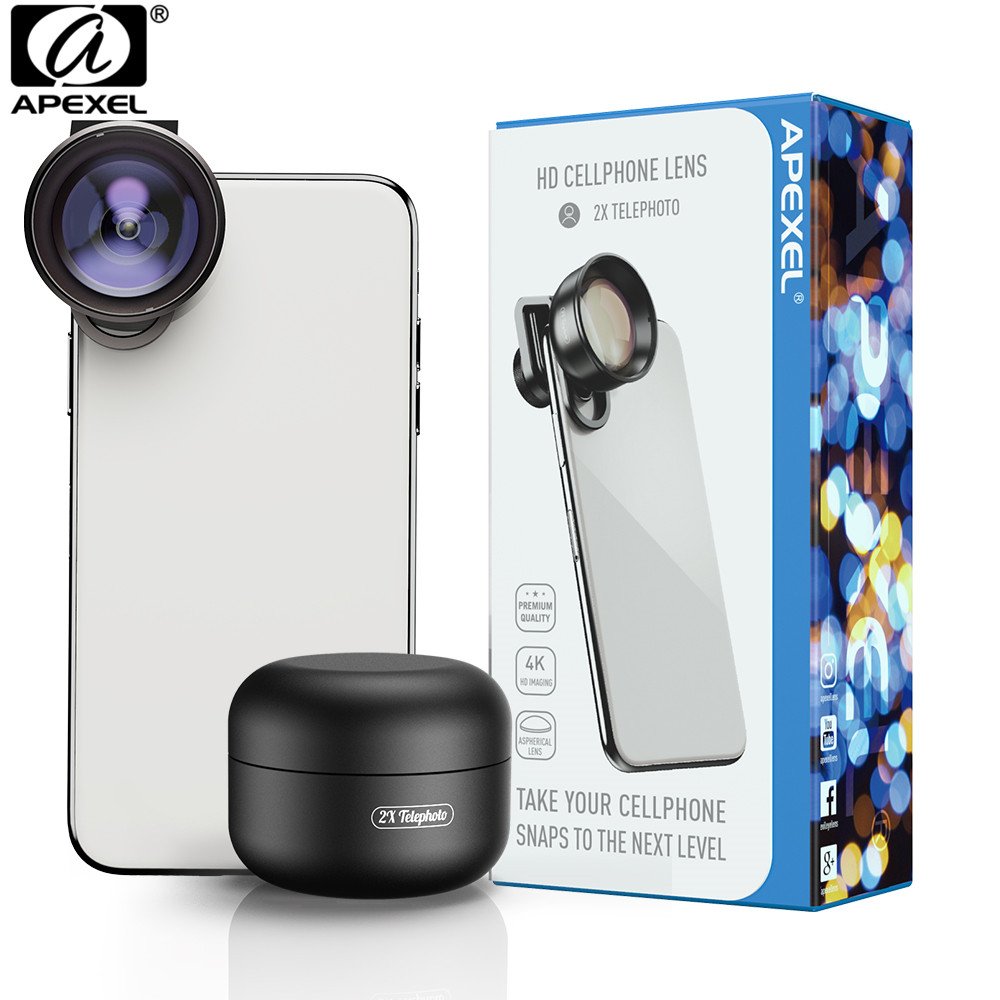 APEXEL Mobile Phone Lens 4K HD 2X Telescope Lens Telephoto Zoom Camera Lens For IPhone Xiaomi All Smartphone Drop-shipping