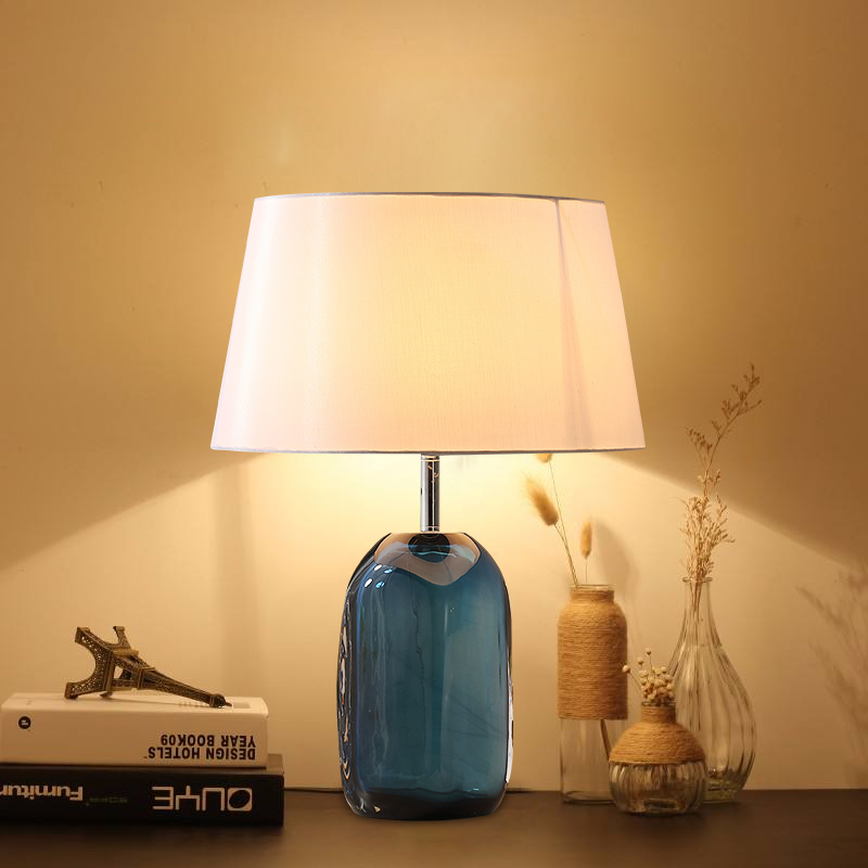 Translucent Blue Glass Table Lamp Fabric Lampshade Bedside Desk lights lamparas de mesa Book Lamps Deco Luminaria Home Lighting trazos modern table lamp color iron lampshade led lamparas de mesa metal desk light e27 hotel lighting deco luminaria de mesa