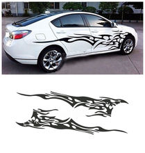 2 X Universal Car Flame Graphics Vinyl Side Sticker 210.5 48cm Black Decal Waterproof