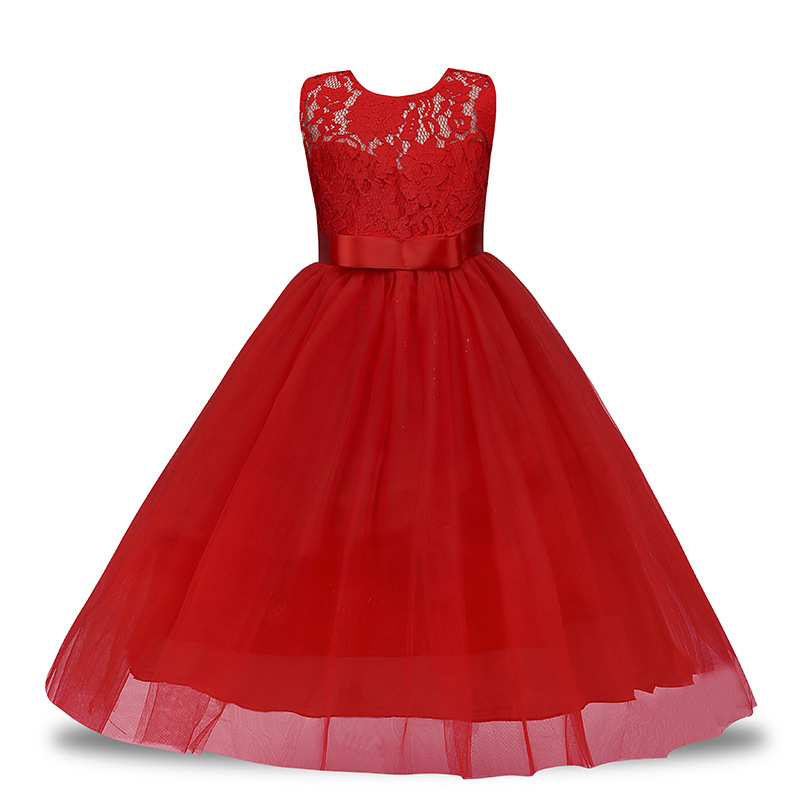 4-14 Year Christmas Kids Girls Wedding Lace Long Girl Dress Elegant Princess Party Pageant Formal Dress Sleeveless Girls Clothes long criss cross open back formal party dress