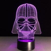 Nova Figura de Ação de 7 cores black knight 3D Visual LED Luzes Da Noite para Crianças Amigos Os Fãs de Star War como Quarto lâmpada de Mesa Lâmpada de Mesa