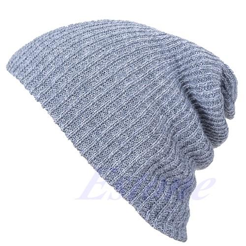 Зима случайные хлопка вязать шапки для женщин мужчин мешковатые шапочки шляпа вязание громоздкая сумка негабаритных лыж цоколь skullies Тука gorros-j117