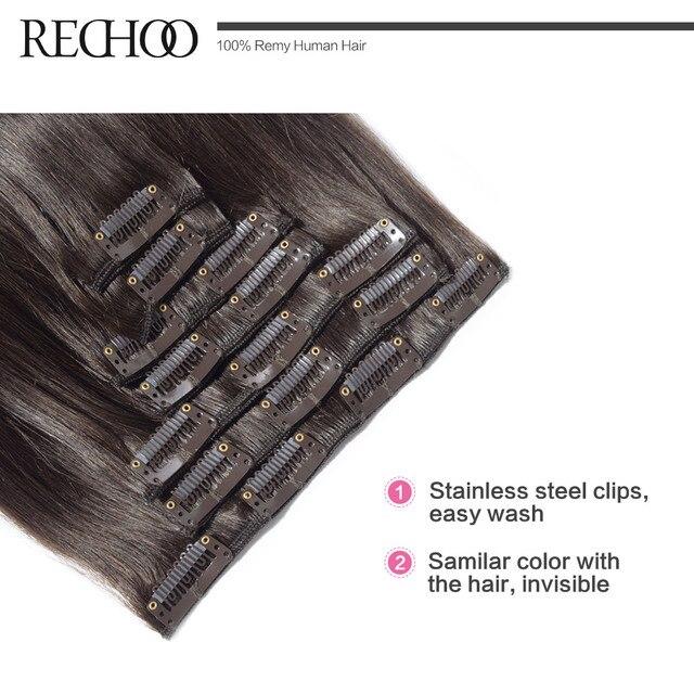 Rechoo Machine Fait Remy Agrafe Droite Dans les Extensions de Cheveux 100G 120G 100% Clips de Cheveux Humains Dans #2 Brun Foncé Couleur 18 4