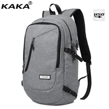 KAKA New Cotton Fabric Men's Travel Backpack Science Schoolbag Light texture Leisure Time Backpack With USB Interface X636