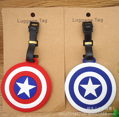 Plastic toys Luggage Captain American Shield Tag Travel Luggage Suitcase Baggage Travel Tag Action Toy Lovely Label Name ID