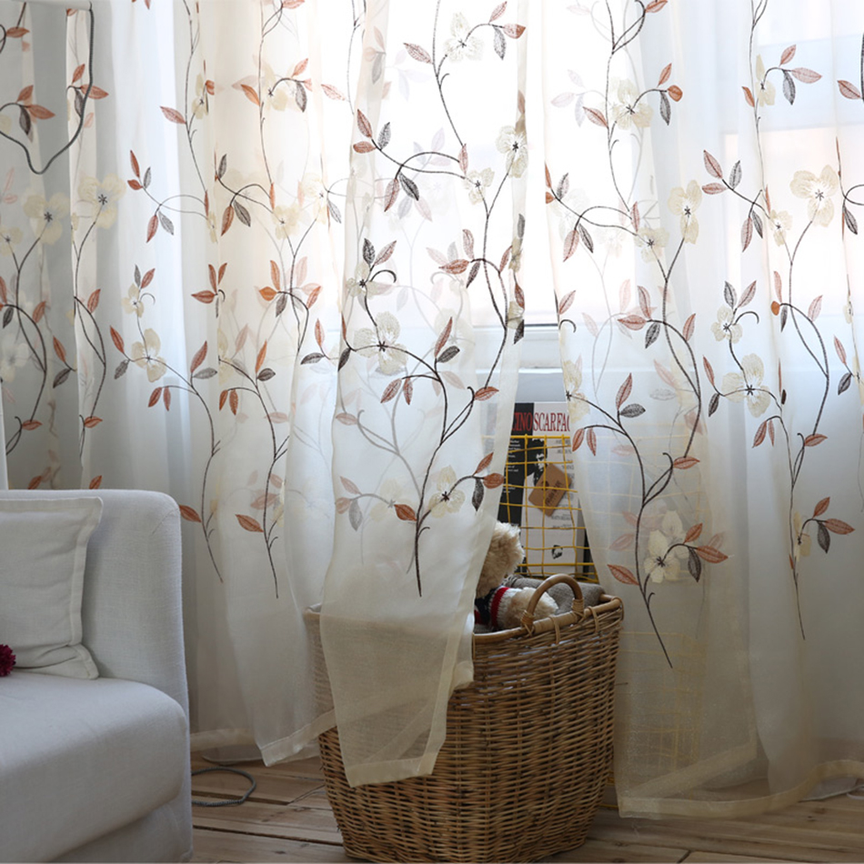 Pastoral Tulle Curtains For Living Room custom floral embroidery ...