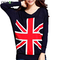 Vintage Batwing Sleeve Women Pullovers Fashion Flag Print Pull Hiver Casual Spring Summer Thin Sweater Mujer 2016 Crochet Femme