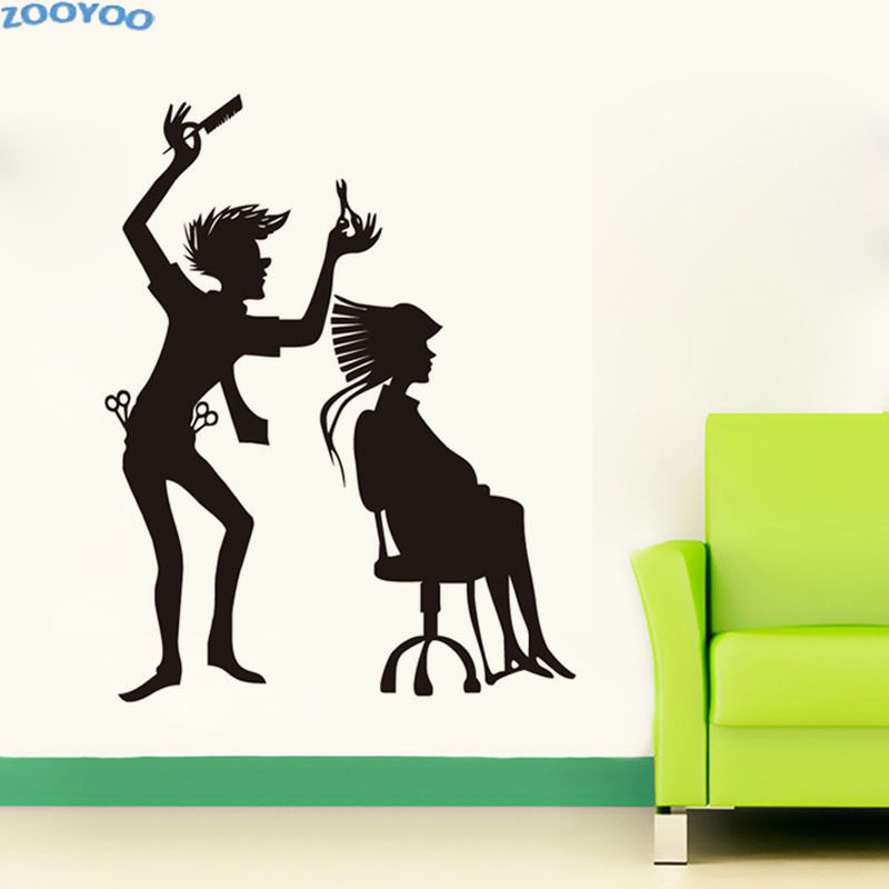 ZOOYOO Hairdressing Barber Shop Wall Stickers Hairstyle Wall Decals For Living Room Decoration Art Design Murals