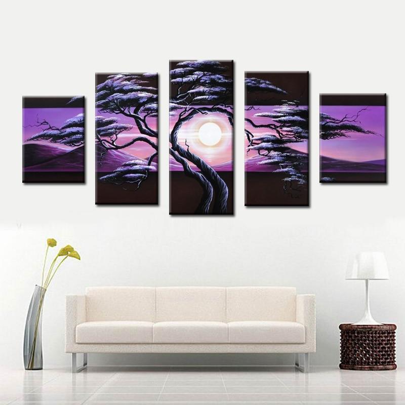 Расписанную сосна восход пейзаж картина маслом на холсте для продажи онлайн 5 panls Холст Wall Art Home Decor
