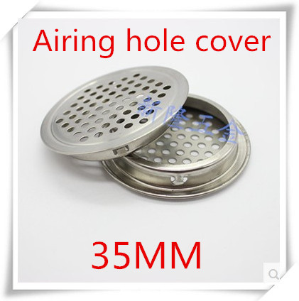 100pcs/lot 35mm stainless steel airing hole cover plain surface for kitchen cabinet shoe cabinet for ventilation evaporation-in Furniture Accessories from Furniture