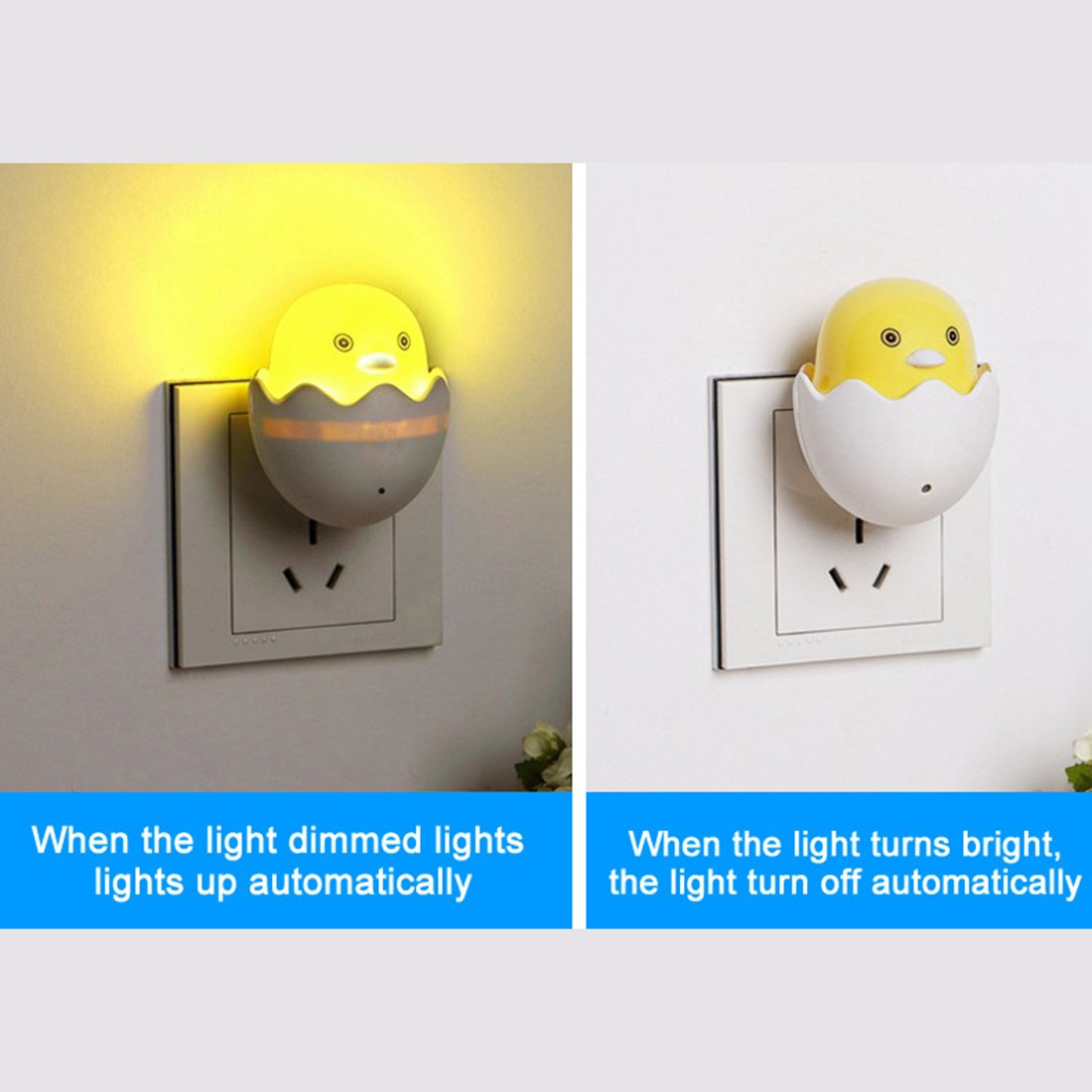 Cute EU Plug Wall Socket Lamps LED Night Light AC 220V Light Control Sensor Yellow Duck Bedroom Lamp Gift for Children