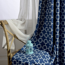 Modern Minimalist Mianma Geometric Pattern Curtains for Living Dining Room Bedroom