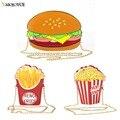 Смешно Гамбургер/Попкорн Форма Crossbody Сумка Малый Crossbody Сумки Для Женщин Милые Кошелек Сумки Цепи Посланник Сумки Праздничных Сумок