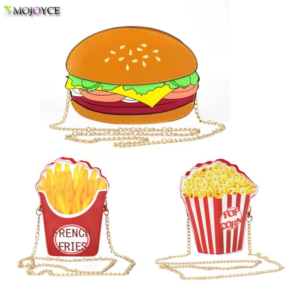 Funny Hamburger Popcorn Shape Crossbody Bag Small Crossbody Bags For Women Cute Purse font b Handbags