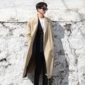 Cavalheiro homem trench coat estilo britânico outono nova solto longo casaco masculino primavera moda casual capa manto outerwear cinto A49