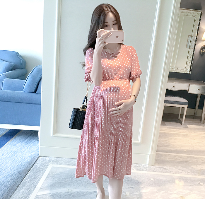 Casual Long Pregnancy Dresses For Women Short Sleeve Loose Maternity Dresses Summer New Chiffon Pregnant Dress Maternity Clothes (5)