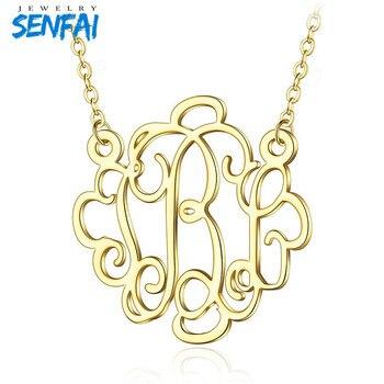 ead0a15a2ad3 Senfai personalizado monograma letra inicial colgante collar nombre  abreviatura joyería de moda para mujeres cumpleaños presente