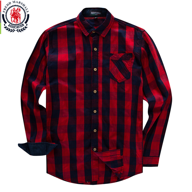 Fredd Marshall 2018 New Men's Long Sleeve Dress Shirt Cotton Casual Plaid Shirt Social Business Checked Shirt Brand Clothing 155