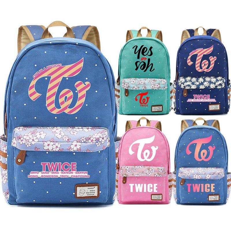 Fashion Twice One In A Million Flowers Dot Boy Girl School Bag Women Bagpack Teenagers Schoolbags Canvas Femme Backpack