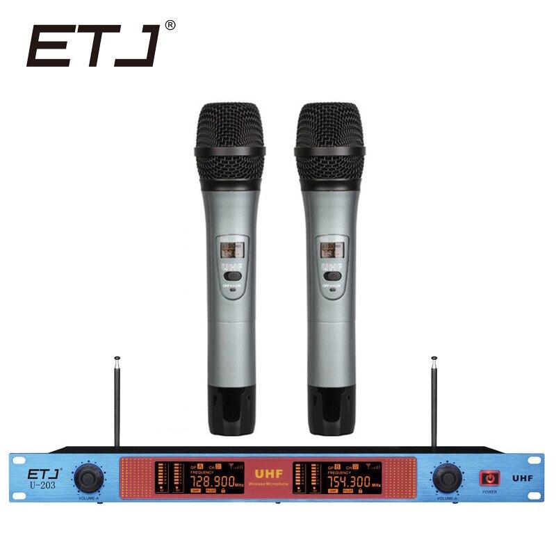ETJ Brand Karaoke Microphone Wireless 2 Handheld Transmitter VHF U-203ETJ Brand Karaoke Microphone Wireless 2 Handheld Transmitter VHF U-203