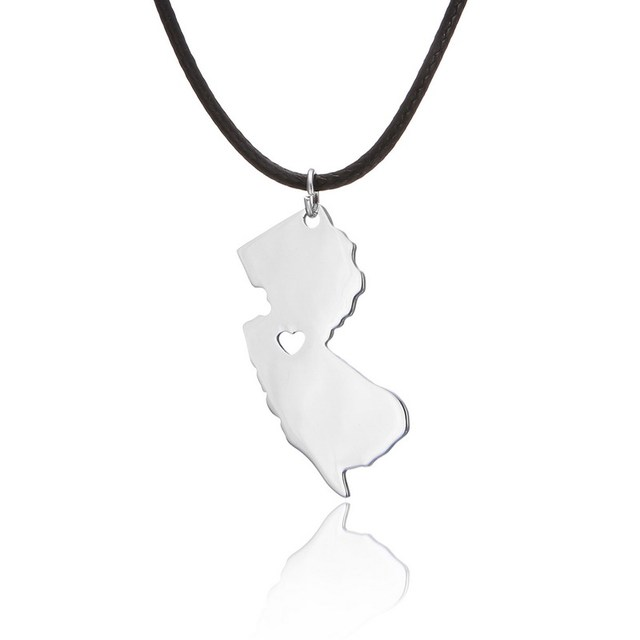 Personalized new jersey necklace silver map pendant state charm personalized new jersey necklace silver map pendant state charm state necklaces custom state map jewelry aloadofball Images