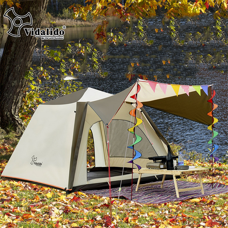 3 4 Person Double Layer Luxury Family Camping Tent Large ...