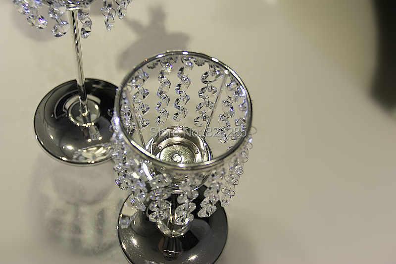 Metal acabamento de prata castiçal de cristal suporte de vela de casamento peça central festa decoração do evento 1 conjunto = 2 pcs vela vara