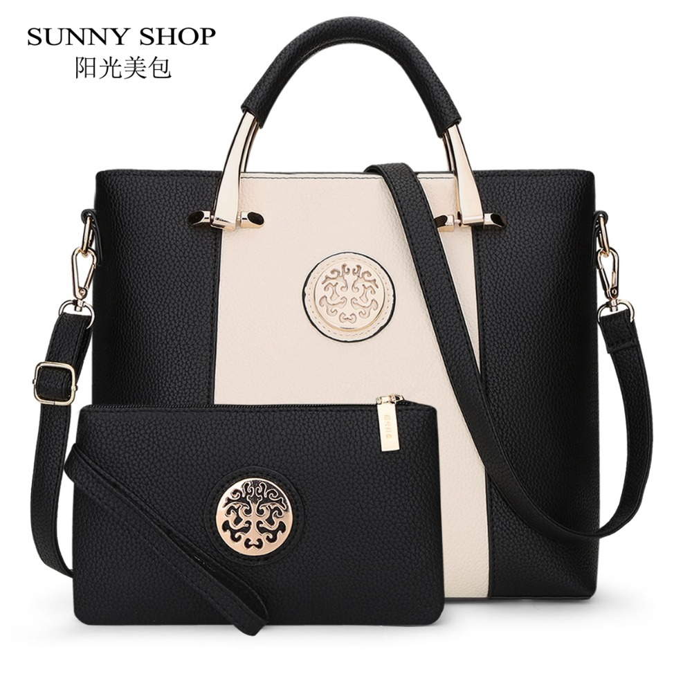 SUNNY SHOP Luxury Women Leather Handbags Set Designer Handbag High Quality Big Shoulder Bag Famous Brand Tote Ladies Hand Bags luxury women leather handbag brown retro vintage bag designer handbags high quality famous brand tote shoulder ladies hand bag
