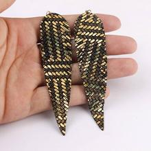 ZWPON Extra Long Genuine Leather Feather Earrings for Women Lightweight Shiny Jewelry Wholesale