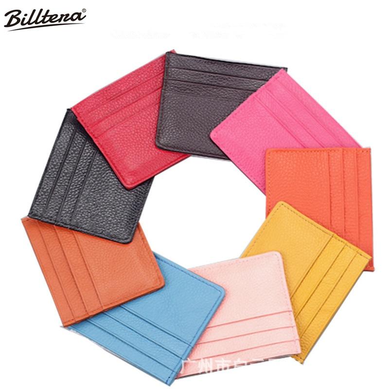 Billtera Credit Card Holder Fashion Genuine Leather Mini Card Wallet Unisex Bank Cards Holder Card Package Bag Mail Hot Sale